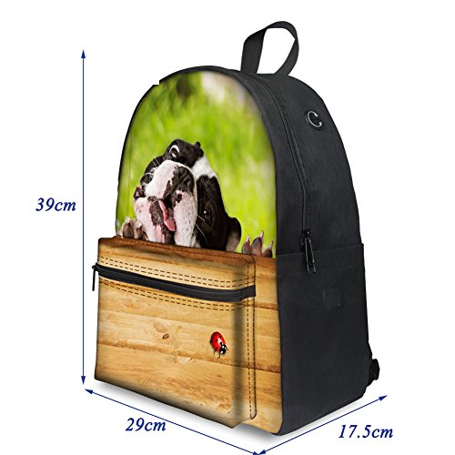 Weekend Black Boys Daypacks Casual Backpacks Girls Trip Cat Teenagers Hiking Bag ThiKin School Casual College Canvas dog1 Stylish for Backpack Men Print Dog Women Laptop Travelling Bookbags gCqvw87P