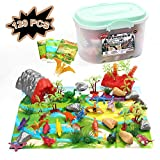 120 Piece Dinosaur Animals Toy Figure Playsets:20 Dinosaurs 20 Poultry 20 Wild Animals + 3 Playmat 57 Rocks & Trees + Storage box | Birthday Party Gifts for Kids Boys Girls 3 Year Old | 3 Scene Fun