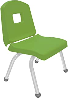 """product image for Creative Colors 1-Pack 12"""" Kids Preschool Stackable Split Bucket Chair in Sour Apple with Platinum Silver Frame and Ball Glide"""