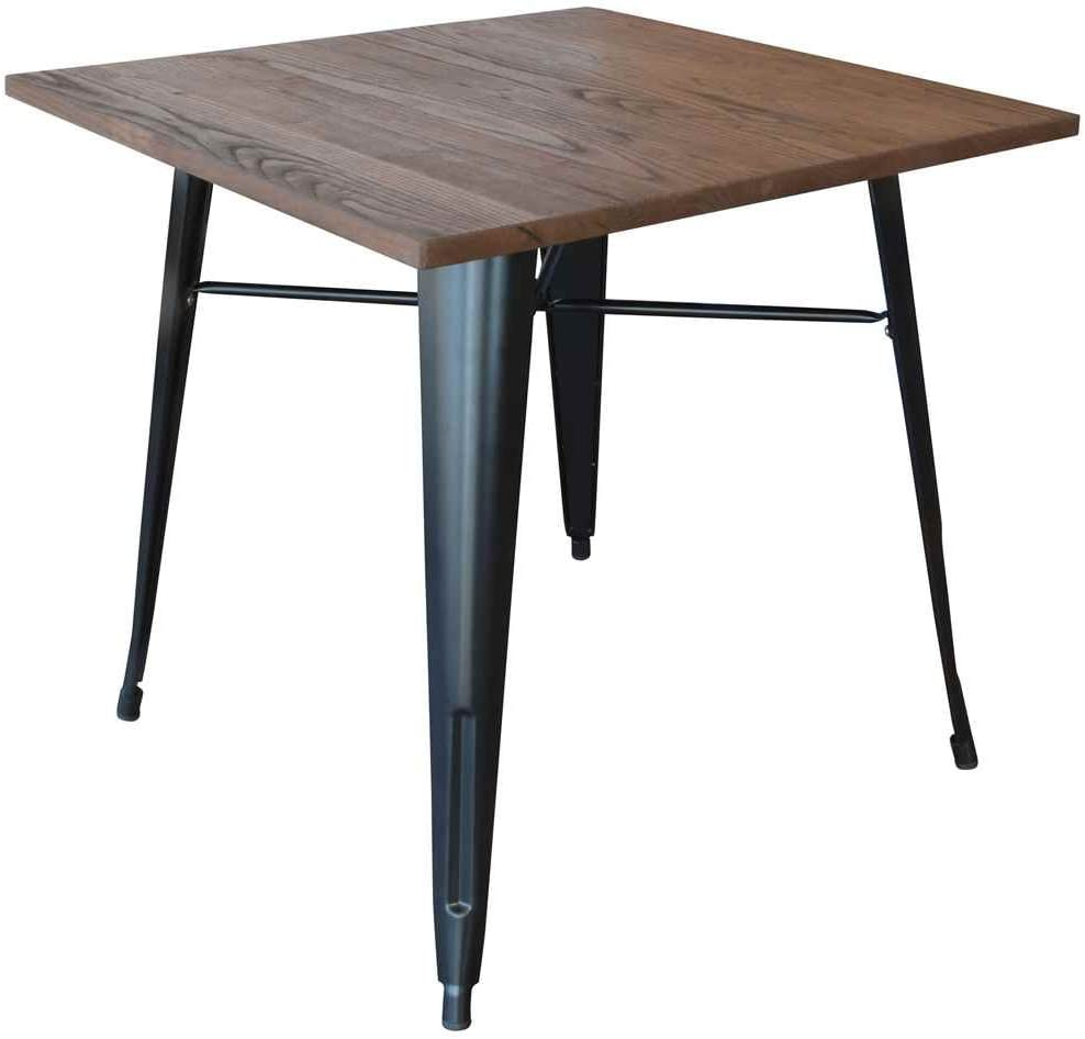 Buffalo Tools Loft Black Metal Dining Table with Wood Top