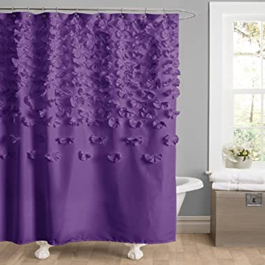 Lush Decor Lucia Shower Curtain, 72 by 72-Inch, Purple