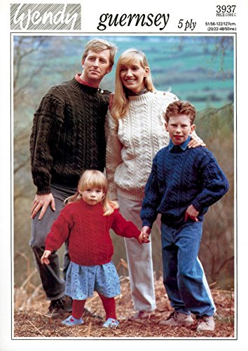 Wendy Family Fisherman Sweater Guernsey Knitting Pattern 3937 5 Ply