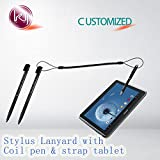 Kang Yuan Black Elastic Tether Lanyards Stylus Pens Coil Strap Tablet/Touchscreen Tether with Top Port, Retractable Coiled Spring