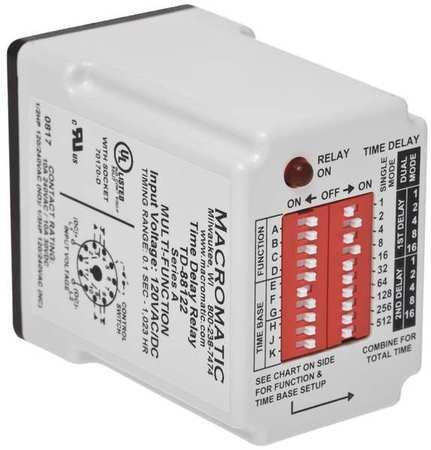 Time Delay Relay, 120VAC/DC, 10A, SPDT