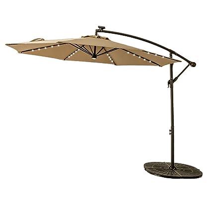 FLAMEu0026SHADE 10ft Solar Power LED Offset Cantilever Patio Umbrella, Hanging  Outdoor Umbrella With Lights,