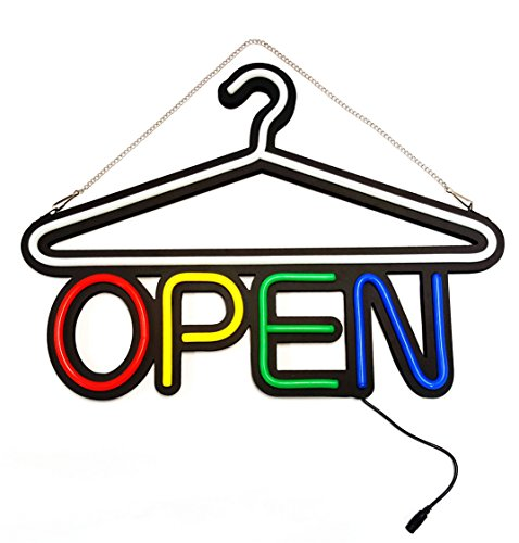 22.5' 1 Light (MaxLit 22.5'' X 16'' New LED Tube Neon Sign- OPEN- For Laundromat, Dry Cleaner, Outfitter, Boutique)
