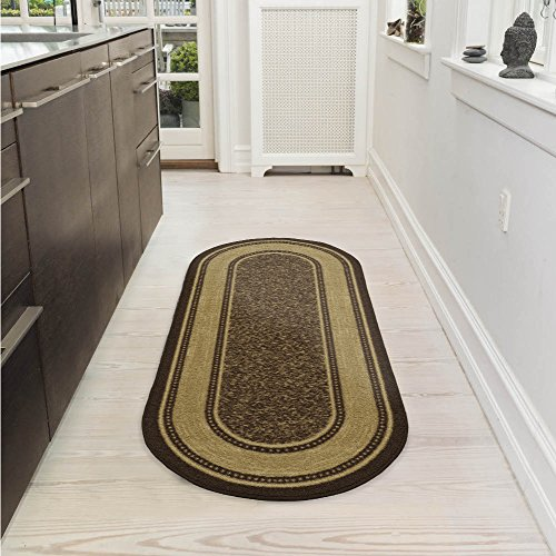 Ottomanson Ottohome Collection Contemporary Bordered Design Non-Skid (Non-Slip) Rubber Backing Modern Area Rug, 2' X 5' Oval, Chocolate Brown Oval Kitchen Rugs