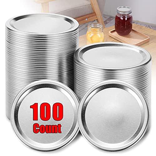100pcs Canning Lids Regular Mouth for Ball, Split-Type Lids Leak Proof Storage Jar for Round Bottle, Canning Jar Caps, Mason Jars Lids, Food Storage, 70mm