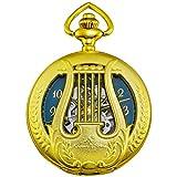 Ks Half Hunter Mens Harp Case Mechanical Skeleton Pocket Watch with Chain Gold KSP112