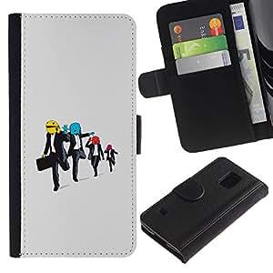 LASTONE PHONE CASE / Lujo Billetera de Cuero Caso del tirón Titular de la tarjeta Flip Carcasa Funda para Samsung Galaxy S5 V SM-G900 / Funny Running Men
