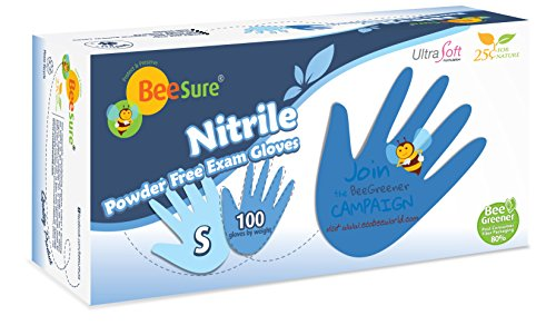 BeeSure BE1116 Nitrile Powder Free Exam Gloves, Small (Pack of 100)