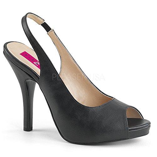 - Pleaser Pink Label Women's Eve04/Bpu Platform Dress Sandal, Black Faux Leather, 13 M US