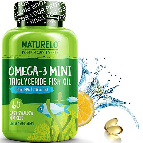 NATURELO Omega-3 Fish Oil Supplement - Mini GELS - 830mg Triglyceride Omega-3 Per Serving - Best for Heart, Eye & Brain Health - No Burps - Natural Lemon Flavor - 60 Mini gels | 1 Month Supply