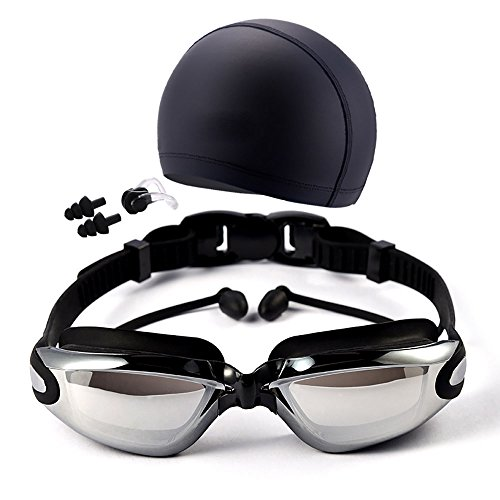 YEX Swim Goggles and Swim Cap Set for Adults, Anti Fog No Leaking UV Protection Swimming Glasses Bundle with Silicone Swim Cap, Earplugs, Nose Clips (Black)