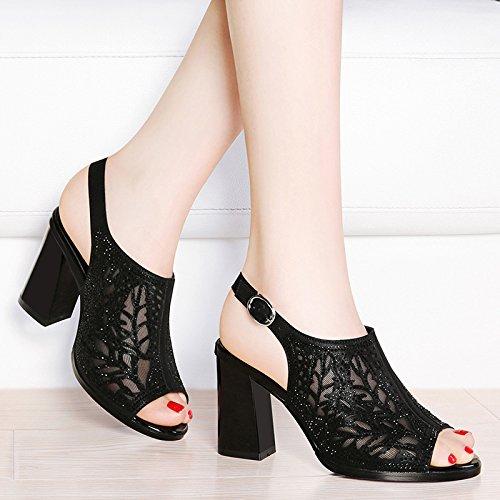 HUAIHAIZ HUAIHAIZ HUAIHAIZ Damen High Heels Pumps Das Garn Sandalen Frauen Schuhe mit Hohen Absätzen Abend Schuhe schwarz 9a7137