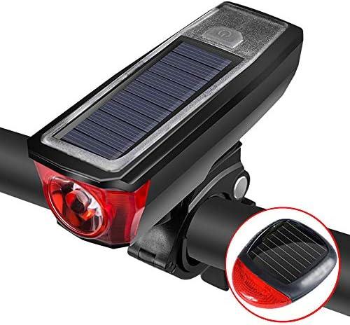 自転車ライトセット、USBソーラー充電リモコンスピーカー防水、簡単にインストールできる自転車のヘッドライトとテールライト
