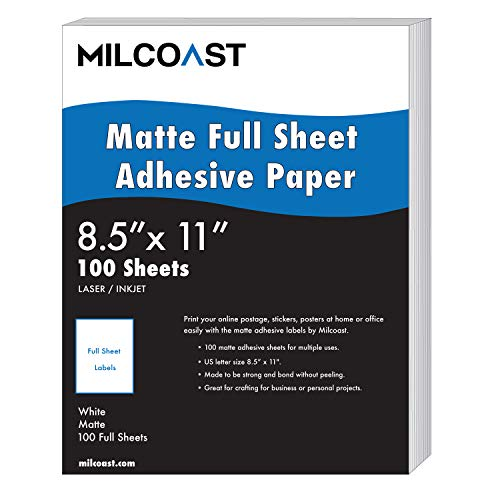 Milcoast Full Sheet 8.5 x 11 Matte Adhesive Sticker Paper Labels for Laser/Inkjet Printers (100 Full Sheet)