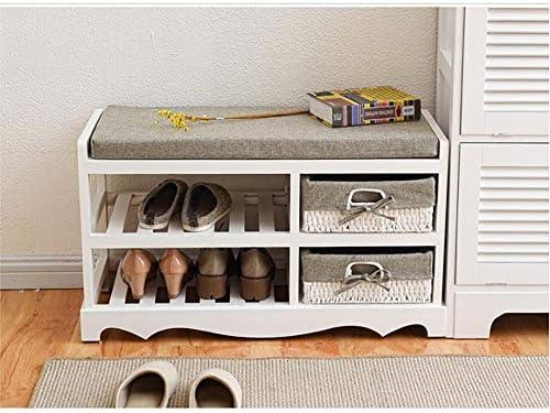 玄関ベンチ スツール 収納ベンチ 靴収納 ベンチ 玄関廊下リビングルームのバスルーム木製の靴ベンチラック靴主催で記憶ドロワー取り外し可能なパッド入りのクッションシート エントランスベンチ 省スペース (色 : 褐色, サイズ : 80x34x45cm)
