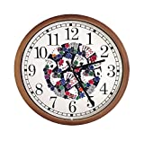 New Espresso / Cappuccino Finish Round Wall Hanging Clock featuring Poker Themed Logo