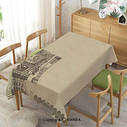 Homenon Tablecloth for Dining Room for Rectangle Tables,Mayan and Inca Tribal Symbols Superstition Primitive Relic Archeology,Machine Washable,Grey Dark Brown,55