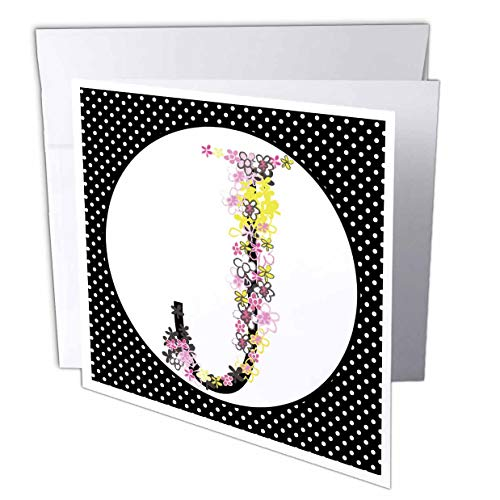 3dRose Anne Marie Baugh - Monograms - Cute Pink, Yellow, Black Flourish and Flowers Monogram K - 6 Greeting Cards with envelopes (gc_318056_1)
