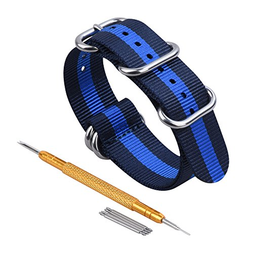 - RANDON Watch Bands NATO Straps Heavy Duty Ballistic Nylon Strap with Stainless Steel Buckle (Navy Blue/Light Blue, 24mm)