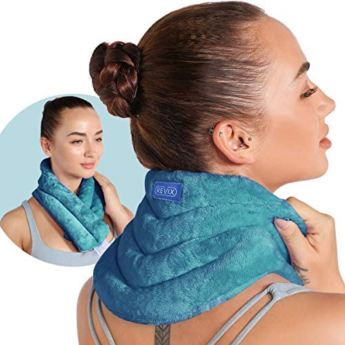 REVIX Microwavable Neck Wrap for Pain Relief, Microwave Heated Neck Pillow with Warm Compress for Stress, Tension, Spasm Pain Relief, Cordless Neck Warmer, Peacock Blue