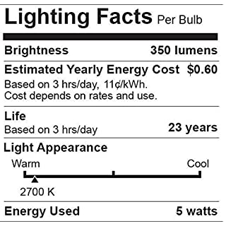 """6 Pack Bioluz LED""""Flame Tip"""" Dimmable Candelabra LED E12 Candelabra Base Candle Bulbs 2700K (Warm White) 40 Watt Using only 5 Watts, Chandelier, Indoor/Outdoor"""