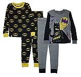 LEGO Batman Big Boys' Pajama, 4 Piece PJ Set,Short Sleeve Long Pants,Cotton, Black/Yellow, 4 -  SGI Children's Apparel