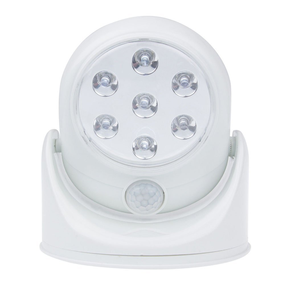 Invero® Motion Activated 360 Rotating Auto PIR Sensor Super Bright 7 LED Security Night Light Indoor/Outdoor - Cordless Battery Operated - White