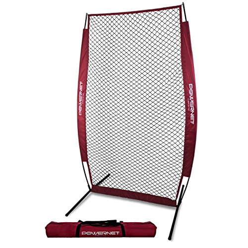 PowerNet I-Screen with Frame and Carry Bag (Maroon) | Portable Baseball Pitcher Protection at Batting Practice | Instant Player and Coach Protector from Line Drives Grounders | Heavy Duty Netting ()