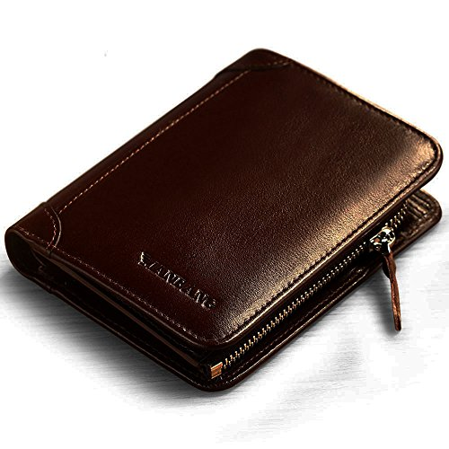 Men's Genuine Cowhide Leather Extra Capacity Bifold Wallet with Zipper Coffee