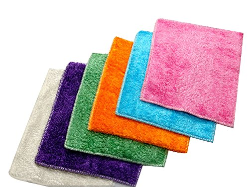 Moolecole Bamboo Fiber Absorbent Dishcloths Home Kitchen Dish Towels 7''x 9''(Color Random, 10-pack) Bamboo Dish Cloth