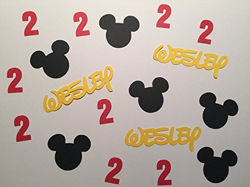 Personalized Mickey Confetti. Disney Party, Mickey Mouse Birthday Custom Name Confetti. -
