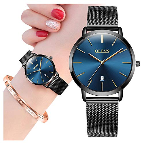 Minimalist Ultra Thin Watches for Women with Bangle Set,OLEVS Ladies Fashion Casual Analog Quartz Date Watch Waterproof,Female Slim Simple Blue Face Big Dial Dress Wrist Watch Milanese Mesh Band Black (Crystal Watch Casual Wrist)