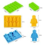 Lego Minifigure Ice Cube Trays - Silicone Lego Candy Bricks Chocolate Mold For Lego Lovers Pack 3 (Green Yellow Blue)