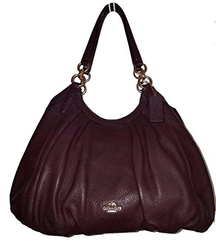 LILY SHOULDER BAG IN REFINED NATURAL PEBBLE LEATHER (Oxblood) by Coach
