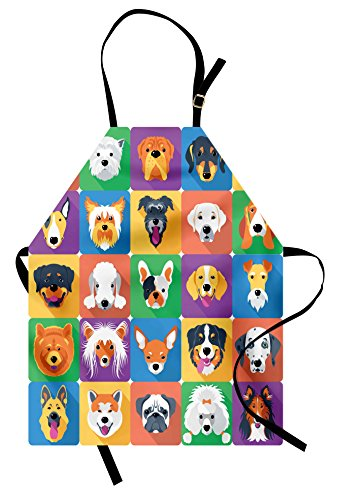 Ambesonne Dog Apron, Dog Breeds Profiles Pets Shepherd Terrier Labrador Domestic Animals Illustration, Unisex Kitchen Bib Apron with Adjustable Neck for Cooking Baking Gardening, Purple Green