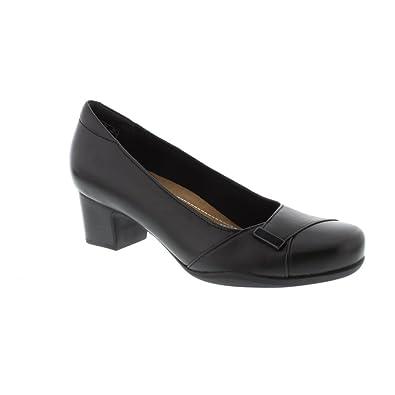 9e2189eac371 Clarks Womens Black Leather Block Heel Court Shoe  Amazon.co.uk  Shoes    Bags