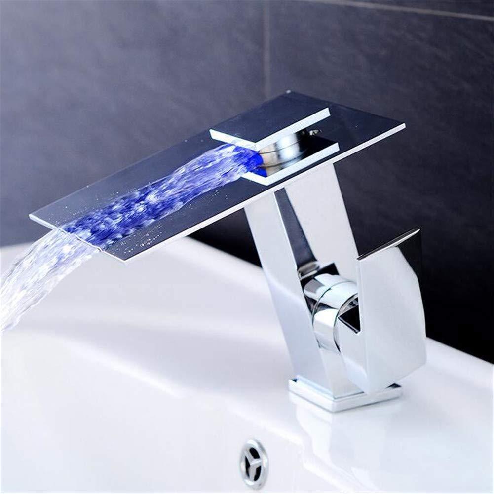 流域ミキサータップ温度コントロールカラーLEDクリエイティブ新しいアウトレット蛇口シングルリフトキッチンバスルーム銅蛇口 B07MNWXLW9
