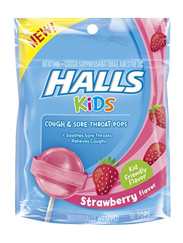 Halls Kids Pops Cough and Sore Throat Strawberry, 10 (Sore Throat Cough Relief)