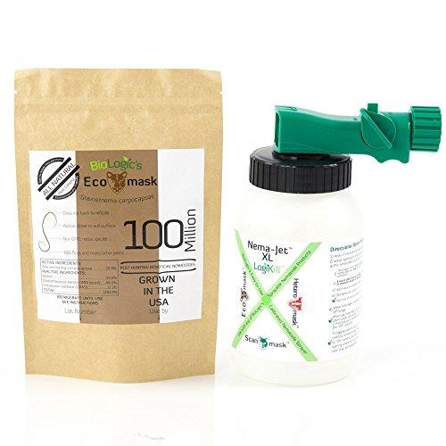BioLogic's Ecomask Beneficial Nematodes, 100 Million Steinernema carpocapsae (Sc) Nematodes for Natural Flea Control PLUS Easy to Use Hose End Sprayer (Value Pack) by BioLogic