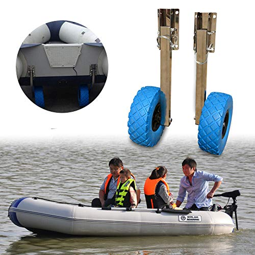 Stainless Steel Boat Transom Launching Wheel Dolly for Inflatable Boat Dinghy Yacht 10''x3'' Tires 136KG Max (USA Stock) ()