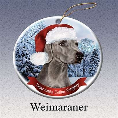 Holiday Pet Gifts Weimaraner Santa Hat Dog Porcelain Christmas Tree Ornament