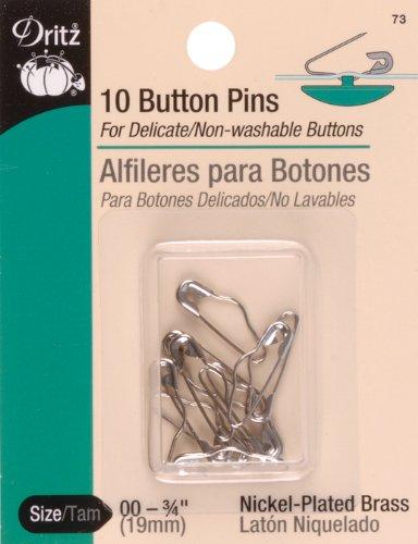 - Dritz 10-Piece Button Pins, Size 00, Nickel Finish