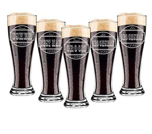 (Groomsmen 16 ounce Pilsner Pint Beer Glass Sets of 2 to 12 Custom Engraved including Choices of Design, Name, Title and Date)