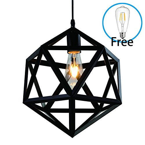 Wrought Iron Black Polyhedron Chandelier - Battaa CTI4026 (2018 New Design) Industrial LED Edison Pendant Lighting Metal Ceiling Hanging Loft Lamp For Kitchen Dining Room Cafe bar 2-Year Warranty