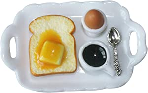 Shuohu Dollhouse Egg Toast Food Breakfast Tray Figurine Miniature 1/12 Accessory - Butter Toast