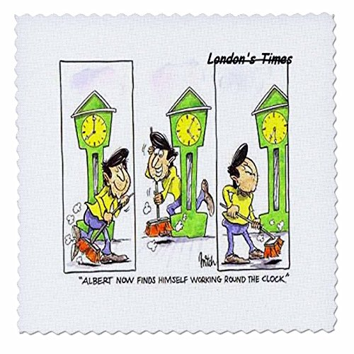 3dRose Londons Times Funny Society Cartoons - Work 24 7-10x10 inch quilt square (qs_1769_1) (Funny Work Cartoons)