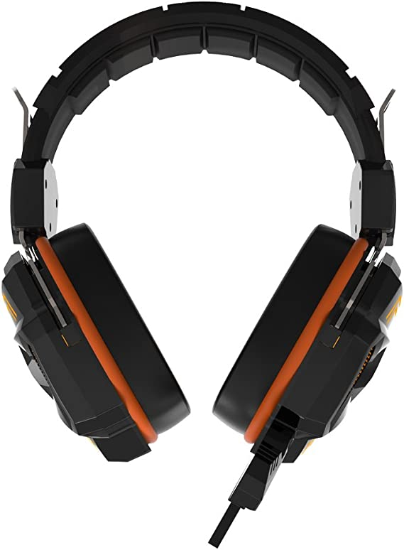 HAVIT hv h2158u Binaural Headphone Headband Black, Orange, Silver – (Circumaural; 20 – 20000 Hz; 110 dB; 32 Ohms Headphones, Wired, 4 cm)